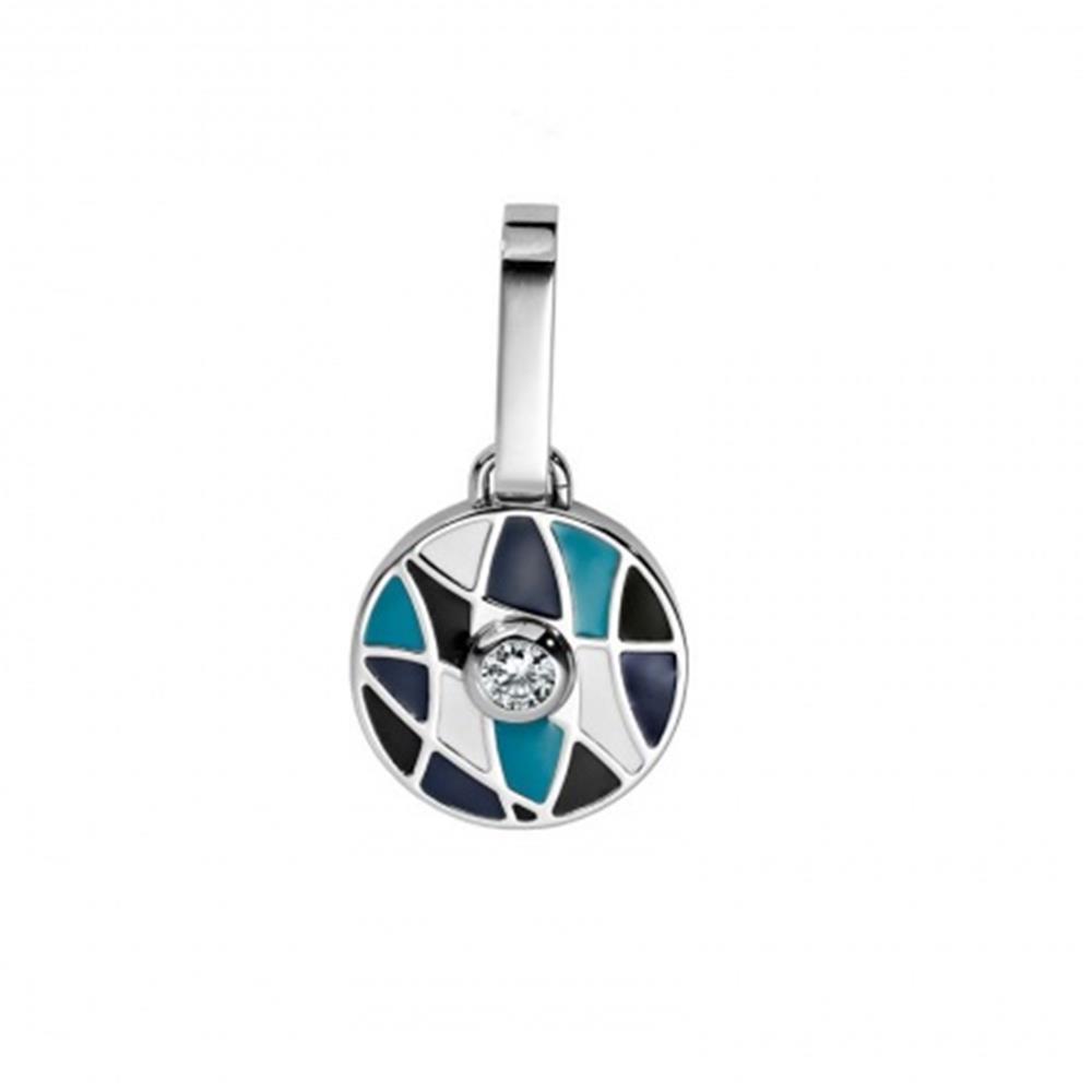Halsband-Anhänger MOSAIK Blau Schwarz Weiss für Hunde & Katzen