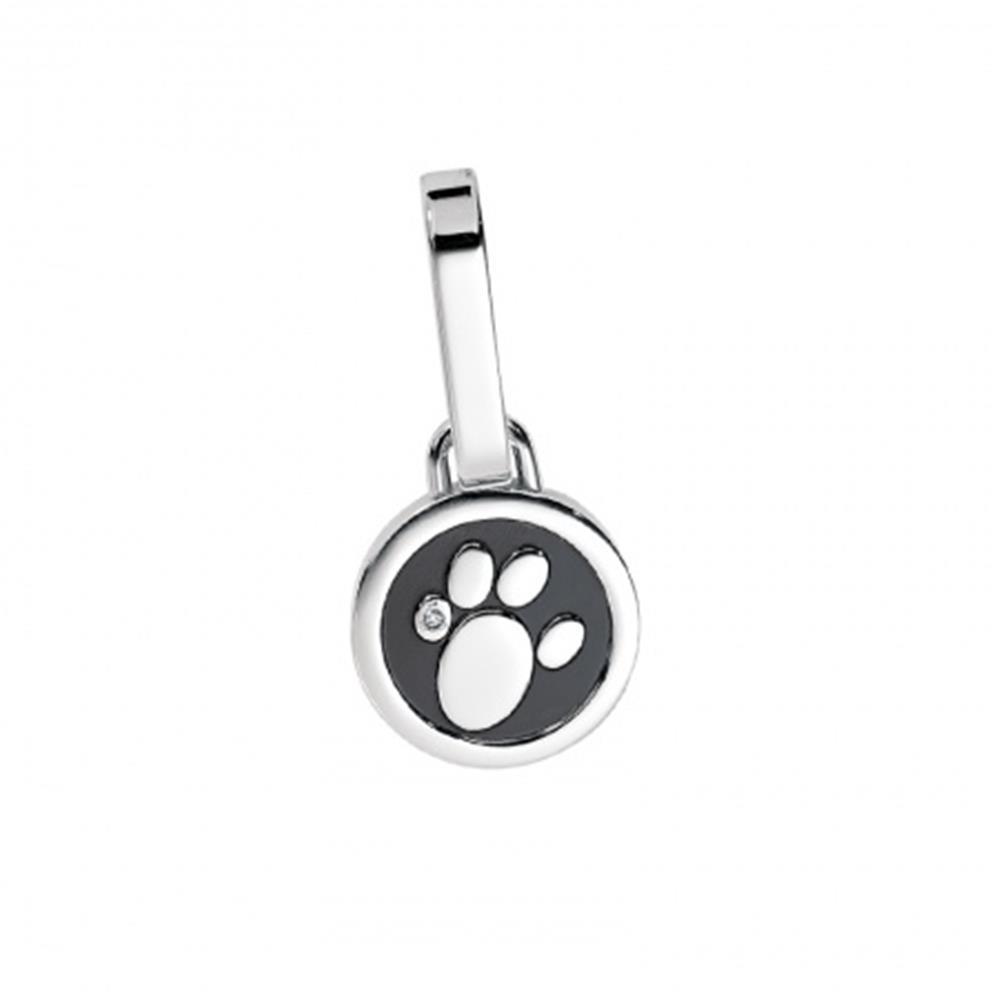 Halsband-Anhänger PFOTE Schwarz ZIRKONIA für Hunde & Katzen