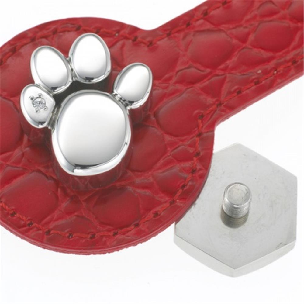 Halsband-Schmuck PFOTE groß Edelstahl KRISTALLE für Tiere
