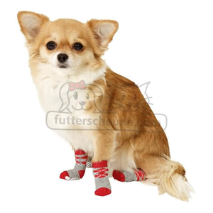 KARLIE Hundesocken DOGGY SOCKS AntiSlip rot-grau S (45mm/35mm)