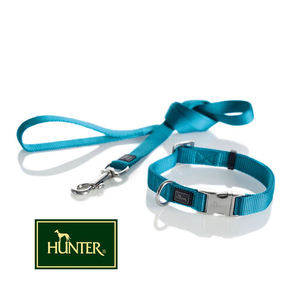 HUNTER Nylonhalsband VARIO Basic ALU-Strong PETROL 40cm-55cm/20mm